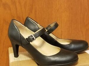 Naturalizer N5 Comfort Black Heels Ankle Strap Mary Jane Shoe Womens 9.5M Pump