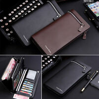 Mens Leather Bifold ID Card Holder Long Wallet Coin Purse Clutch Zipper Billfold