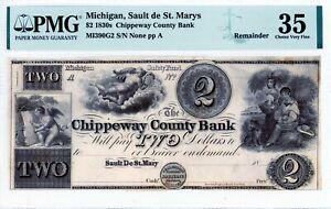 Sault de St. Marys, Michigan  Chippeway Co Bank  $2 1830s  Obsolete  PMG 35