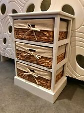Wicker Drawers Baskets 80s Style Storage Unit Wood Bedroom Bathroom White Wood 9