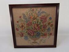 "Vintage Framed Tapestry Fabric Basket of Flowers 21"" x 21"""