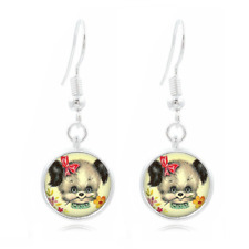 Puppy glass Frea Earrings Art Photo Tibet silver Earring Jewelry #449