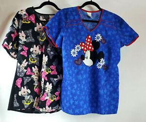 Lot of 2 Disney Womens ScrubTops LG Minnie Mouse