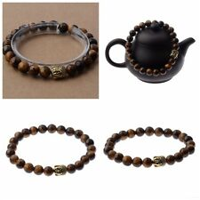 Men's Charm Natural Tiger Eye Stone Gold Buddha Head Beaded Charm Bracelet Gift