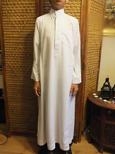 Al Haramain Boy's Black and White Thobe Thoub Long Jubba Islamic/ Muslim Dress