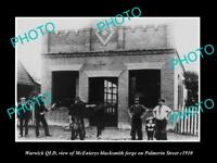 OLD LARGE HISTORIC PHOTO OF WARWICK QLD THE McENIERYS BLACKSMITH FORGE c1910