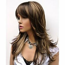 Natural Long Layers Brown with Golden Highlights Mix Color Synthetic wigs for