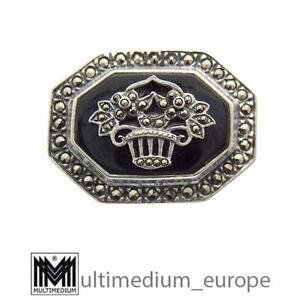 Silber Onyx Brosche Art Deco Stil Markasit silver brooch marcasite st 🌺🌺🌺🌺🌺