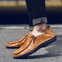 Men's Cowhide Leather Slip on Casual Driving Loafers Soft Moccasin Boat Shoes