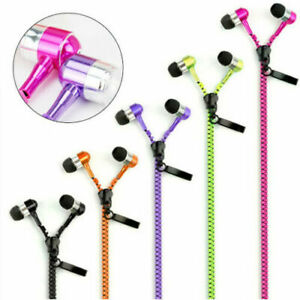 Earphones Zipper Headphones Built in Microphone Head Jack 3.5mm Connection