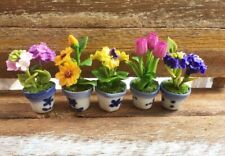 5 Miniature Flowers Clay in Ceramic Pots Dollhouse Miniature Handmade Home Decor