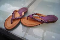 AirStep Damen Sommer Schuhe Zehentrenner Sandalen Gr.36 lila Nieten Leder TOP#2s