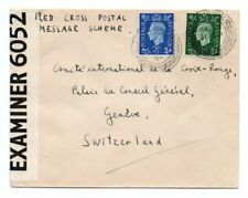 GREAT BRITAIN: Censored cover to red cross in Switzerland 1941.