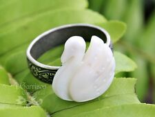 Swan ring - mother of pearl, antiqued silver plated - adjustable ring size 5-8