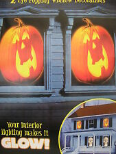 "halloween 2 pumpkin window decorations 33.5 "" x 65"" interior lights make it glow"
