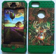 Camo Deer on Green Skin Hybrid for Apple iPhone 5 Hard Impact Cover Case