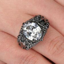 Size 7 White Sapphire Ring Women's 10KT Black Gold Filled Engagement flower Ring