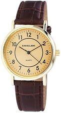 Excellanc Herrenuhr Gehäusefarbe Gelbgold Armband braun Armbanduhr Se596