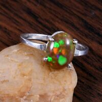 925 Sterling Silver Natural Ethiopian  Flashy Opal Exclusive Wedding Ring #272