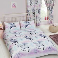 STARDUST UNICORN DOUBLE DUVET COVER SET BEDDING GIRLS - TEAL AND PURPLE