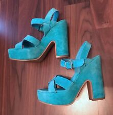 office turquois suade platform sandals size 3