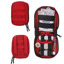 EMT EMS PARAMEDIC CAMPING TRAVEL VEHICLE RED MINI MOLLE TACTICAL FIRST AID KIT