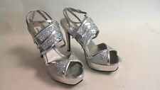 New Dyeables Wedding/Evening Shoes - Silver Glitter - Rumer - US 9B UK 7 #22E301