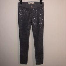 Hollister Jeans Girls size 23 x 29  Grey sequin front skinny jeans NWoT