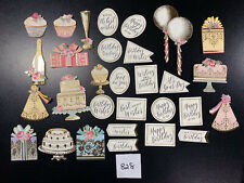 30pc Lot Anna Griffin Birthday Embellishments Sentiments Card Making