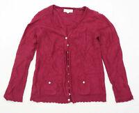 Mistral Womens Size 12 Cotton Blend Purple Cardigan (Regular)