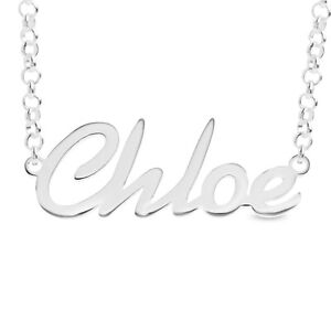 925 Sterling Silver CHLOE Name Necklace Womens Pendant Gift Ready Stock