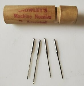 Vintage Crowley's Sewing Machine Needles 4 Assorted In Original Wooden Case