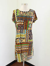 Calvin Klein Abstract Geometric Print Shift Dress Size 10 Floral Patchwork