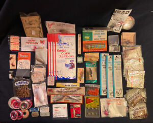 Vintage Lot Of Fishing Gear Hooks Line Sinker Lures Fly New Old Stock