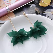 Fashion Women's Ear Studs Crystal Flower Drop Long Dangle Earrings Jewelry Green