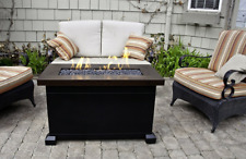 Fire Pit Table Top  With Lid Patio Propane Gas Rectangle Glass Rocks Heater