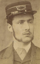STATION MASTER. MAN IN SUIT AND OFFICIAL HAT. CDV. MANCHESTER, ENGLAND.