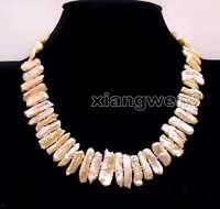 15*25mm Natural Pink Freshwater Biwa Pearl Necklace Women Chokers 17'' Jewelry