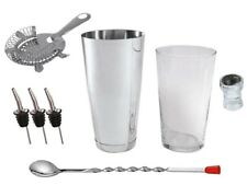 NEW Cocktail Starter Kit with Boston Shaker - Hawthorn Strainer Spoon Barspoon.