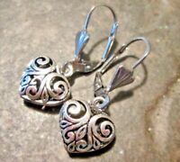 Silver Filigree Puffed Heart Earrings with Stainless Steel Leverbacks