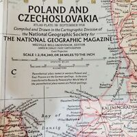 Vintage Poland & Czechoslovakia Map National Geographic Society September 1958