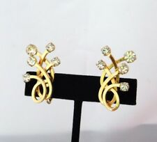 EMMONS Sovereignty Vintage Clip Earrings Clear Crystal Rhinestones Goldtone VJ1