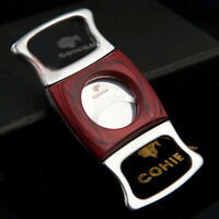 COHIBA Red Wood Stainless Steel Cigar Cutter Sharp two Blade Scissor Cut+ Pouch