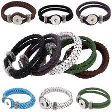 Lederarmband Leder Armband geflochten Click Druckknöpfe kompatibel mit Chunks