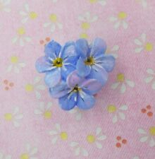 FORGET-ME-NOT BROOCH Forget-Me-Not Pin Friendship Pin Masonic Lapel HAND PAINTED