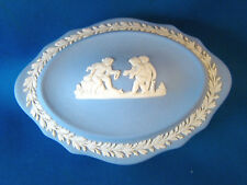 Wedgwood Jasperware Blue Oval Trinket Box or Candy Dish with Lid @H