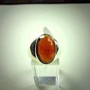 Ring Gr. 62 Silber 925 miteinem Hessonit-Granat, Facettenschliff aus Indien
