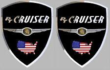 2 adhésifs stickers noir & chrome CHRYSLER PT CRUISER à coller sur portes avant