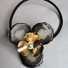 NEW Trendy Torque Choker Geometric Black, Pearl/Gold & Crystal Necklace Bloggers