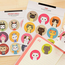 2Pcs Korea cute cat Round Waterproof Sealing Diary Sticker Notebooks 15 x 18 cm
